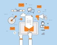 Περιεχόμενο μάρκετινγκ επιχειρησιακού ηλεκτρονικού ταχυδρομείου στην κινητή έννοια διανυσματική απεικόνιση