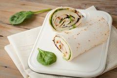 Περικάλυμμα ή tortilla σάντουιτς Στοκ Εικόνα