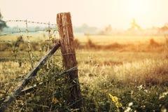 Περιορίστε την ξηρά ξηρά επαρχία χλόης φρακτών περιοχής στοκ εικόνα