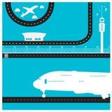 Περιορισμένος τελικός επιβάτης αεροπλάνου πύργων διαδρόμων διανυσματική απεικόνιση
