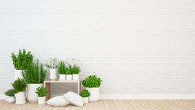Περιοχή διαβίωσης και εσωτερικός κήπος στη καφετερία ή τον καφέ - τρισδιάστατη απόδοση ελεύθερη απεικόνιση δικαιώματος