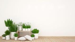 Περιοχή διαβίωσης και εσωτερικός κήπος στο σπίτι ή τη καφετερία - τρισδιάστατη απόδοση απεικόνιση αποθεμάτων