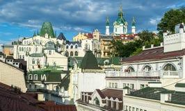 Περιοχή ελίτ Vozdvizhenka στο Κίεβο, Ουκρανία Κορυφαία όψη σχετικά με τις στέγες των κτηρίων Στοκ Εικόνες