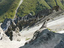 Περιοχή καθιζήσεων εδάφους, διαβρωμένοι βράχοι - τρόπος στο στρατόπεδο βάσεων Tilicho, Νεπάλ Στοκ Εικόνα