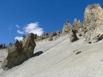 Περιοχή καθιζήσεων εδάφους, διαβρωμένοι βράχοι - τρόπος στο στρατόπεδο βάσεων Tilicho, Νεπάλ Στοκ φωτογραφίες με δικαίωμα ελεύθερης χρήσης