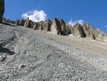 Περιοχή καθιζήσεων εδάφους, διαβρωμένοι βράχοι - τρόπος στο στρατόπεδο βάσεων Tilicho, Νεπάλ Στοκ Φωτογραφία
