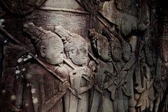 περιοχή Καμπότζη angkor που χαράζει τη khmer πέτρα thom Στοκ φωτογραφίες με δικαίωμα ελεύθερης χρήσης