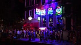 Περιοχή κόκκινου φωτός στην πόλη νυχτερινής ζωής του Άμστερνταμ του Άμστερνταμ φιλμ μικρού μήκους