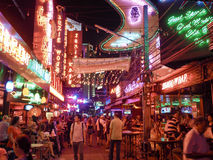 Περιοχή κόκκινου φωτός της Μπανγκόκ τη νύχτα Στοκ εικόνα με δικαίωμα ελεύθερης χρήσης