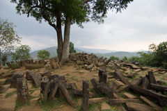 Περιοχή μεγαλιθικών μνημείων Gunung Padang άποψης Στοκ εικόνα με δικαίωμα ελεύθερης χρήσης