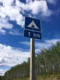 Περιοχή στρατοπέδευσης ένα χιλιόμετρο μπροστά Στοκ εικόνα με δικαίωμα ελεύθερης χρήσης