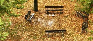 Περιοχή συνεδρίασης στο πάρκο το φθινόπωρο Στοκ Φωτογραφίες