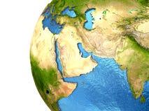 Περιοχή της Μέσης Ανατολής στη γη Στοκ Εικόνες