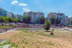 Περιοχή Archeological - η ελληνική αγορά και το ρωμαϊκό φόρουμ, Thessaloni Στοκ Φωτογραφίες