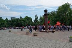 Περιοχή Tagil Σβέρντλοβσκ Nizhny στις 28 Ιουλίου 2018 Συνεδρίαση ενάντια στη συνταξιοδοτική μεταρρύθμιση στη Ρωσία στοκ εικόνες
