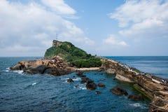 Περιοχή Wanli, νέα πόλη της Ταϊπέι, μανιτάρι-διαμορφωμένος Geopark βράχος της Ταϊβάν Yehliu, ειδική περιοχή σκοπέλων τοπίων Jiang Στοκ Φωτογραφίες