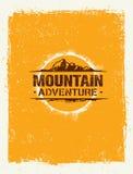 Περιπέτεια βουνών Δημιουργική έννοια κινήτρου πεζοπορώ βουνών περιπέτειας Διανυσματικό υπαίθριο σχέδιο Στοκ Εικόνες