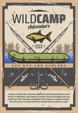 Περιπέτεια στρατόπεδων αλιείας άγρια, εξοπλισμός ψαράδων διανυσματική απεικόνιση