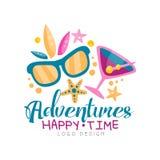 Περιπέτειες, ευτυχής χρόνος, σχέδιο λογότυπων, θερινές διακοπές παραλιών, ταξίδι, τροπικός παράδεισος, δημιουργική ετικέτα αντιπρ απεικόνιση αποθεμάτων