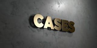 Περιπτώσεις - χρυσό σημάδι που τοποθετείται στο στιλπνό μαρμάρινο τοίχο - τρισδιάστατο δικαίωμα ελεύθερη απεικόνιση αποθεμάτων ελεύθερη απεικόνιση δικαιώματος