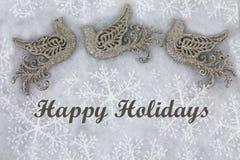 Περιστέρια και Snowflakes Χριστουγέννων που χαιρετούν το υπόβαθρο Στοκ Εικόνα