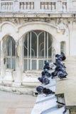 Περιστέρια στο παλαιό κτήριο πόλεων Πολυάριθμα γραπτά περιστέρια α Στοκ Εικόνες