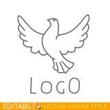 Περιστέρι Πρότυπο πουλιών λογότυπων Διανυσματικός γραφικός Editable στο γραμμικό ύφος Στοκ Εικόνες
