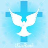 Περιστέρι στον ουρανό από το σταυρό αυξημένος Ελεύθερη απεικόνιση δικαιώματος