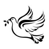 Περιστέρι Σύμβολο της ειρήνης Διανυσματική μαύρη σκιαγραφία Στοκ Φωτογραφία
