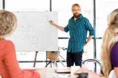 Περιστασιακός επιχειρηματίας που κάνει μια παρουσίαση στο γραφείο Στοκ Φωτογραφίες