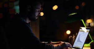 Περιστασιακός επιχειρηματίας που χρησιμοποιεί ένα lap-top τη νύχτα απόθεμα βίντεο