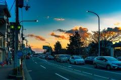 Περιστασιακό ηλιοβασίλεμα στο Κιότο στοκ εικόνες