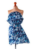 Περιστασιακό μπλε floral φόρεμα Στοκ εικόνα με δικαίωμα ελεύθερης χρήσης