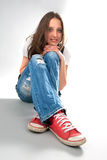 Περιστασιακό νέο κορίτσι στοκ φωτογραφία με δικαίωμα ελεύθερης χρήσης