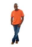 περιστασιακό πουκάμισο τ ατόμων jeans1 Στοκ Εικόνες