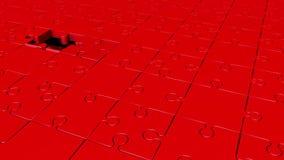 Περιστρεφόμενα κομμάτια γρίφων στο κόκκινο απεικόνιση αποθεμάτων