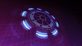 Περιστρεφόμενες και κυμαιμένος 4k ζωτικότητας βιντεοσκοπημένες εικόνες διεπαφών τεχνολογίας HUD στα πορφυρά μπλε χρώματα απεικόνιση αποθεμάτων