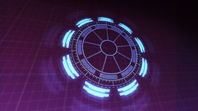 Περιστρεφόμενες και κυμαιμένος 4k ζωτικότητας βιντεοσκοπημένες εικόνες διεπαφών τεχνολογίας HUD στα πορφυρά μπλε χρώματα ελεύθερη απεικόνιση δικαιώματος