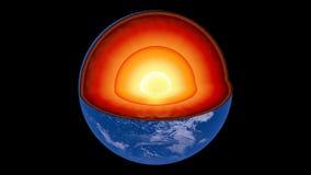 Περιστρεφόμενη γη που αποκαλύπτει την εσωτερική δομή πυρήνων απόθεμα βίντεο