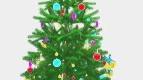 Περιστρεφόμενη διακοσμημένη κινηματογράφηση σε πρώτο πλάνο χριστουγεννιάτικων δέντρων απεικόνιση αποθεμάτων
