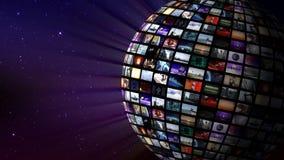 Περιστρεφόμενη τηλεοπτική σφαίρα στο διάστημα απεικόνιση αποθεμάτων