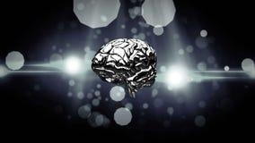 Περιστρεφόμενος εγκέφαλος σιδήρου σε ένα μαύρο υπόβαθρο διανυσματική απεικόνιση