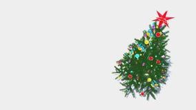 Περιστρεφόμενος διακοσμημένος βρόχος άποψης χριστουγεννιάτικων δέντρων από επάνω προς τα κάτω 4K ελεύθερη απεικόνιση δικαιώματος