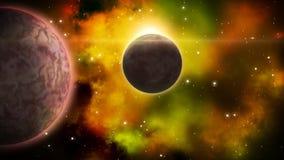 Περιστρεφόμενος πλανήτης με το φεγγάρι eclipce βρόχος απεικόνιση αποθεμάτων