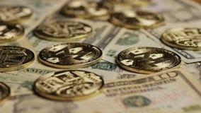Περιστρεφόμενος πυροβολισμός Bitcoins απόθεμα βίντεο