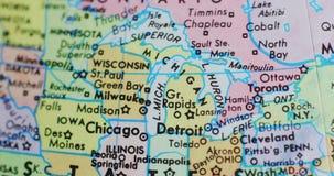 Περιστρεφόμενος χάρτης σφαιρών του Μίτσιγκαν ΗΠΑ 4K απόθεμα βίντεο
