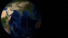 Περιστρεφόμενο γήινο ζουμ επάνω στην Αφρική ελεύθερη απεικόνιση δικαιώματος