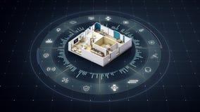 Περιστρεφόμενο σχέδιο σπιτιών, έξυπνο σπίτι, γύρω από διάφορο Διαδίκτυο του εικονιδίου εγχώριων συσκευών πραγμάτων κανένα κείμενο