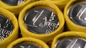 Περιστρεφόμενο υπόβαθρο των ευρο- νομισμάτων ένα φιλμ μικρού μήκους
