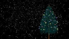 Περιστρεφόμενο χριστουγεννιάτικο δέντρο με το χιόνι απόθεμα βίντεο